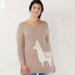 Lauren Conrad Llama Graphic Tunic Sweater XXL NWT